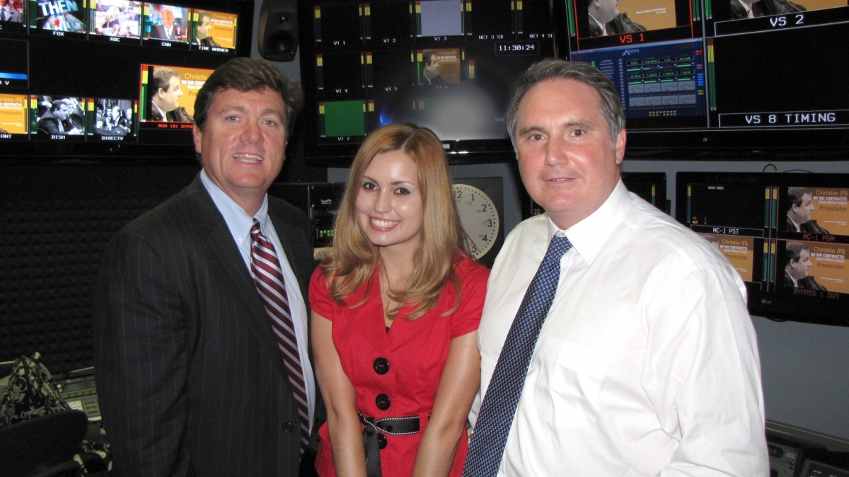Christina Crane meeting with Sean O'Boyle, '85, executive vice president and general sales manager for NBC Universal's Domestic Television Distribution Division, and Peter Dunn, '81, president of CBS