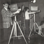 Ed running a television camera for the Bishop Duffy High School homeroom morning show in 1973.