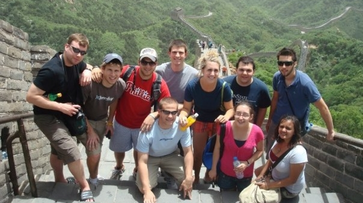 Arts & Sciences and Business Students Studying at the Great Wall of China