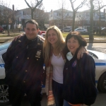 Veronica and her friend, Dana Wizeman, with a NYPD officer on Thanksgiving Day.