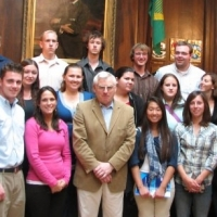 A&S Students meeting with officials in Ireland on a NU trip abroad.
