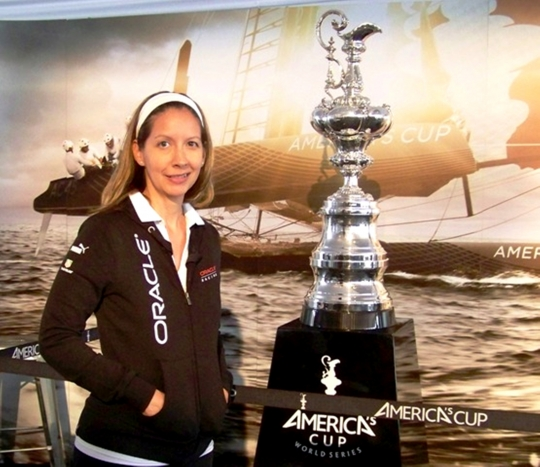 Cali Gilbert, '07, with the America's Cup.
