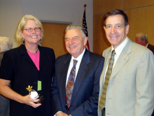 Dr. Debbie Curtis is pictured with Art Sabia, a Statler Foundation trustee, and Dr. Gary Praetzel, dean of Niagara University's College of Hospitality & Tourism Management.