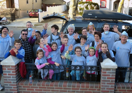 David Campbell, '63, back row, center, with family members during the Hurricane Sandy project.