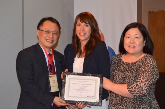 Anika Loeffler recently received the Best Paper Award at the 2012 Korea America Hospitality and Tourism Educators Association Conference. Pictured, l-r, is Dr. Chang Huh, NU assistant professor, Loeffler, and Dr. Yen-Soon Kim, president of the Korea America Hospitality and Tourism Educators Association.