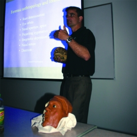 Gardner discusses his work as a forensic artist with a criminal justice class at Niagara University.