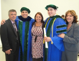 Christopher DeSimone, '03, (second from left) and Daniel DeSimone,'06, (second from right) with their father, Chris (left), sister, Michelle (middle), and mother, Maria, at their University at Buffalo graduation. Michelle is another NU alumni success story: she is an NU Class of 2000 graduate in psychology and now does home nursing in Niagara Falls, N.Y.