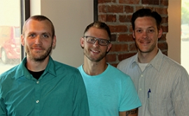 Kyle Bajor, '13, Joe Hotchkiss, '14, and Michael Lewis, M.S.Ed.'08