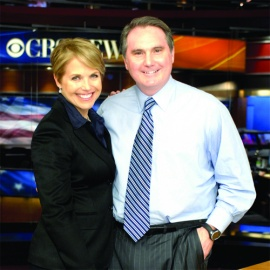 Peter Dunn, '81, with CBS Evening News anchor Katie Couric.