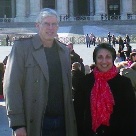 Teresa Niedda, '84, with Dr. Scott Fina, '80, in Rome for a meeting of the Vincentian Council.