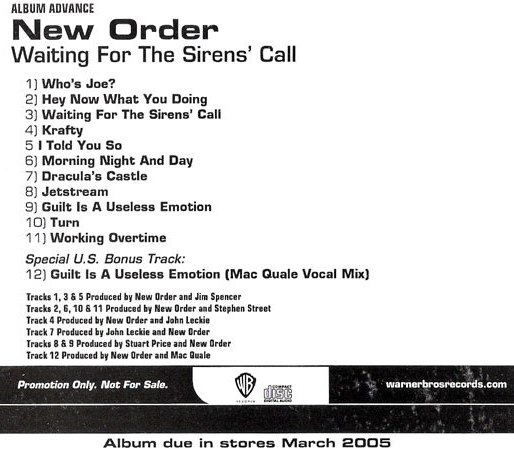 New Order Albums Waiting For The Sirens Call One day, his boss came up to him and said hey joe, are you busy? and he said heck no! and his boss said ok joe. albums waiting for the sirens call